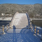 雪の錦帯橋(南から)